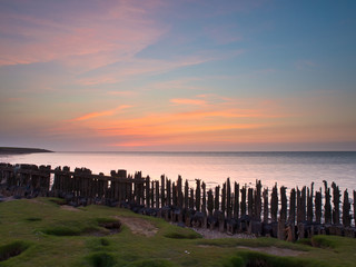 Wall Mural - Sunset over sea Netherlands