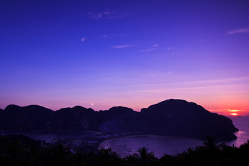 View point at Phi Phi island in the sunset, Thailand