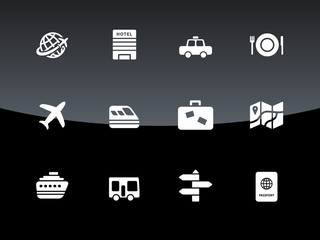 Travel icons on black background.