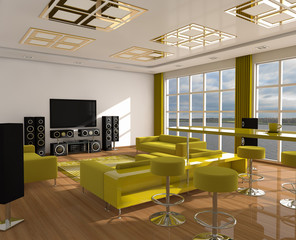 Interior of modern room home cinema