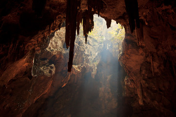 Sunbeam into the cave, Thailand