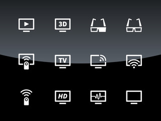 TV icons on black background. Vector illustration.