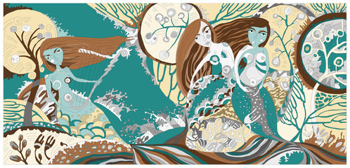 Vector illustration with mermaids