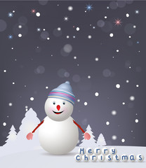 Christmas Greeting Cards. Celebration background with snowman