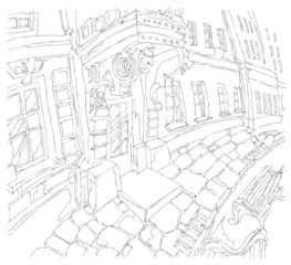Freehand drawing of street