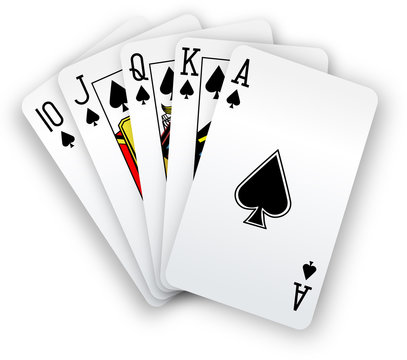 Poker cards Straight Flush spades hand