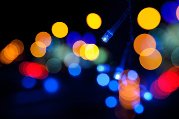 Colorful lights garland with bokeh