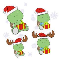 turtle xmas baby claus gift set