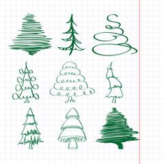 christmas trees sketch set vector  illustration