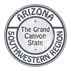 Stamp with name Arizona, Southwestern Region, vector