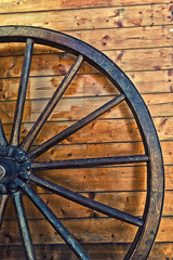 Old horse carriage wooden wheel