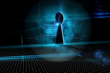 Keyhole on technological background