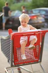 Cute little girl sitting inside shopping cart