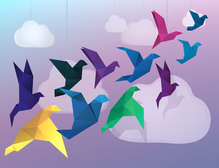 Zelfklevend Fotobehang Geometrische dieren Origami Birds flying and fake clouds background