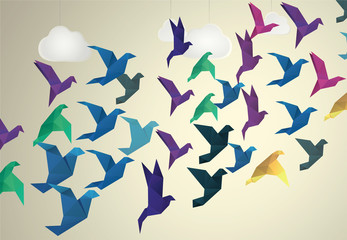Spoed Fotobehang Geometrische dieren Origami Birds flying and fake clouds background