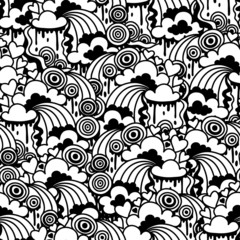 Wall Mural - Seamless pattern with abstract doodles.