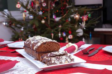 Christmas gingerbread cake with chocolate