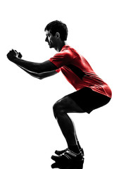 Wall Mural - man exercising fitness workout  lunges crouching silhouette