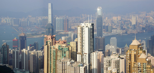 Wall Mural - Hong Kong skyline from Victoria Peak. Panorama