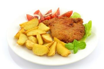 kotlet schabowy i pieczone ziemniaki