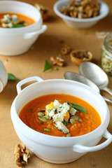 pumpkin soup with blue cheese and walnuts