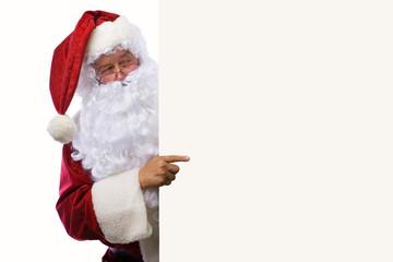 weihnachtsmann mit plakat