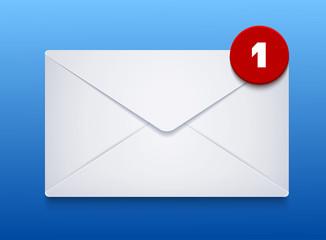Vector envelope on blue background. Eps10