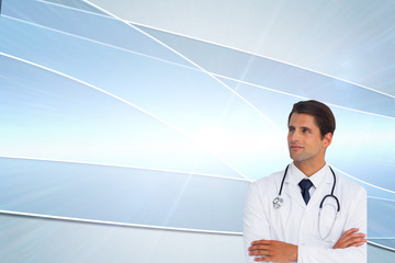 Composite image of confident doctor with arms crossed looking up