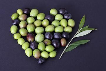 Fototapete - Cuore di olive e ramo d' ulivo 2