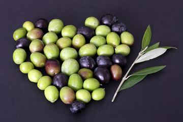 Fototapete - Cuore di olive e ramo d' ulivo