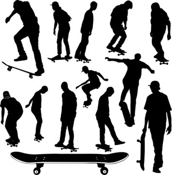 skateboarders collection silhouettes - vector