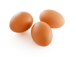 Three eggs. Isolated on white background