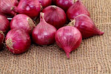 Closeup of red onions
