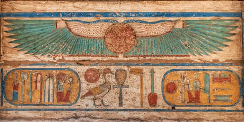 Madinet Habu temple hieroglyphs in Luxor