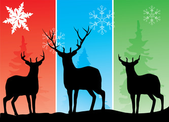 vector deer silhouettes