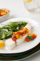 Poached Halibut and Peach Salsa