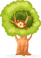 Wall Mural - cartoon monkey on the tree