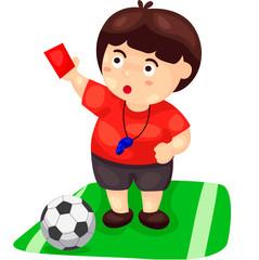 cartoon referee with football
