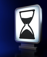 Timeline concept: Hourglass on billboard background