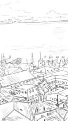 Wall Mural - Street in Roma - sketch  illustration