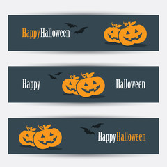 Halloween banners with smiling pumpkins