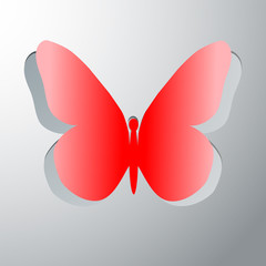 Butterfly decorative. Symbol butterfly cut out of paper. eps10