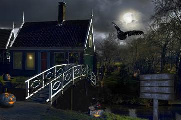 Fotobehang Volle maan village. Netherlands