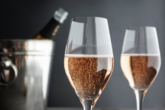Close-up of two Glasses Rose, Pink Champagne