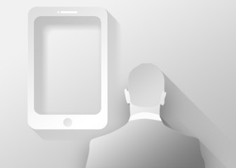 Fotoväggar - Smartphone and businessman 3d illustration flat design