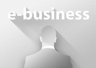 E-business with businessman 3d illustration flat design