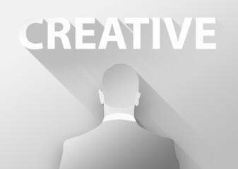Creative with businessman 3d illustration flat design