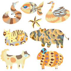 Cartoon animals vector set