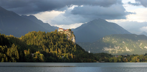 Panorama of castle on Lake Bled, Slovenia, Europe