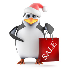 Penguin Santa Claus goes to the Sales